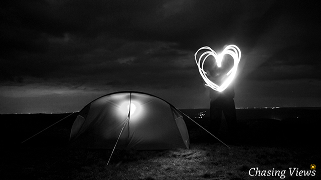 Base camp at night on Kinder Scout