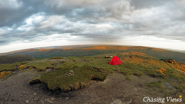 Tent finally pitched on Kinder Scout plateau