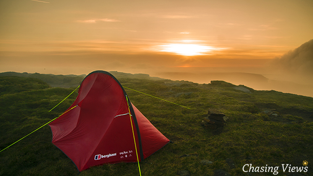 Sun rising on Kinder Scout