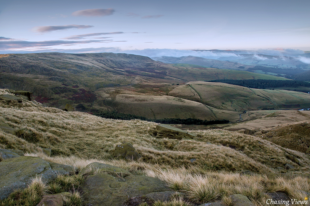 Clouds rolling over the East side of Kinder Scout