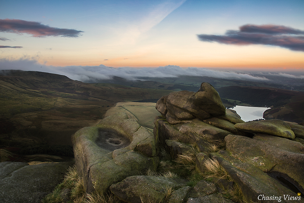 Rolling clouds & sunrise on Kinder Scout