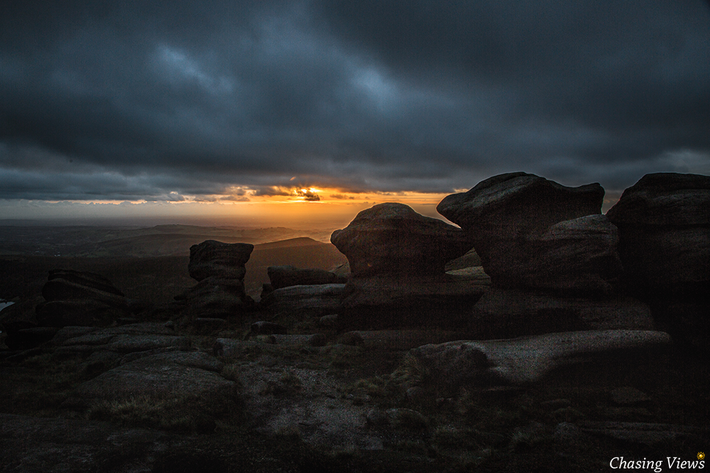 View of the sunset from Kinder Scout